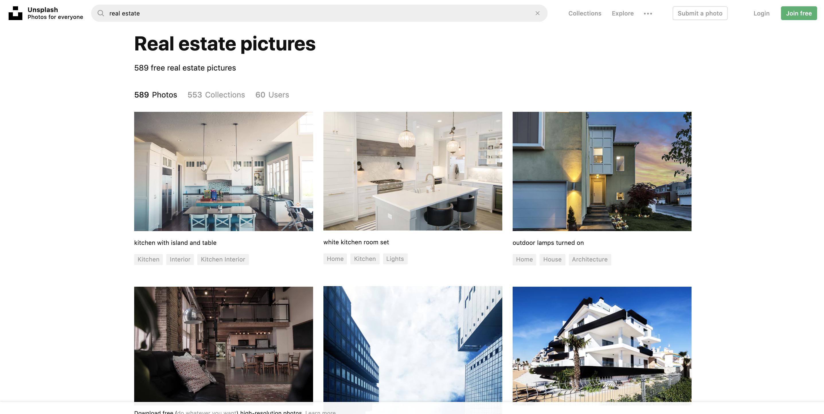 Unsplash - screenshot of free real estate photos